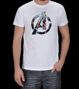 Geek-Shirt - Avengers Logo Tasarımlı Beyaz Erkek Tişört