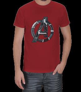 Geek-Shirt - Avengers Logolu Kırmızı T-Shirt Erkek Tişört