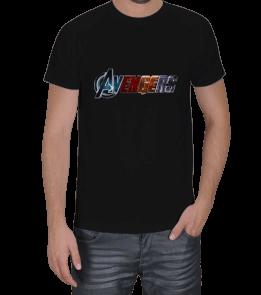 Geek-Shirt - AVENGERS Yazılı Siyah T-Shirt Erkek Tişört