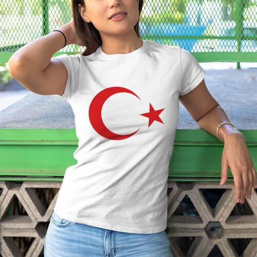 Tisho - Ay Yıldız Kadın Kısa Kol Tişört