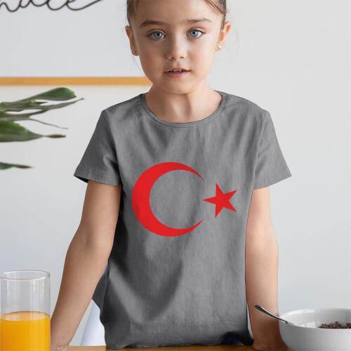 Ay Yıldız Kız Çocuk Kısa Kol Tişört - Tekli Kombin