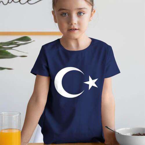 Ay Yıldız Kız Çocuk Kısa Kol Tişört - Tekli Kombin - Thumbnail