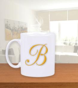 MeizDesign - B harfi kupa Beyaz Kupa Bardak