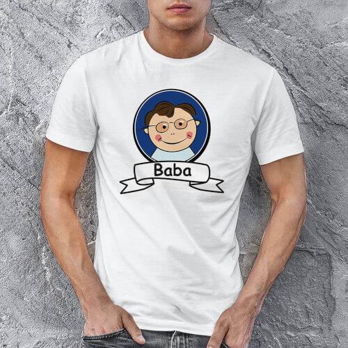 Baba Resimli Erkek Tişört - Tekli Kombin