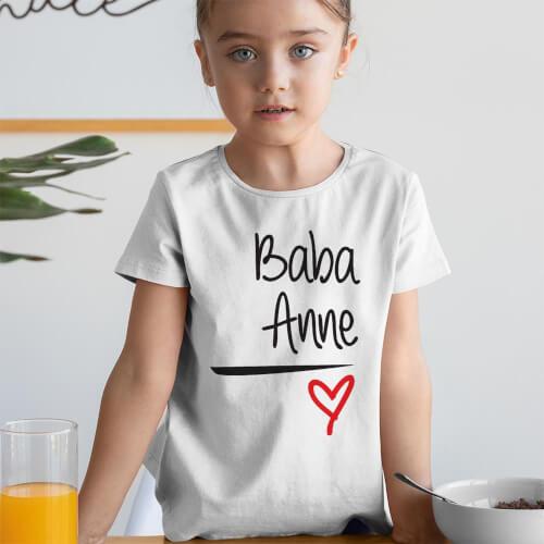 Tisho - Baba ve Anne Yazılı Kız Çocuk Tişört - Tekli Kombin (1)