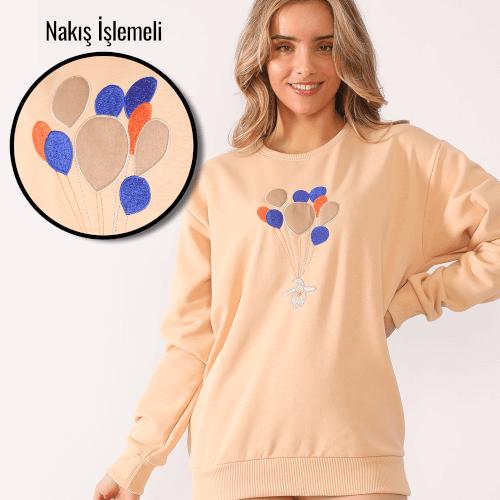 Tisho - Balon Temalı Nakış İşlemeli Krem Kadın Sweatshirt