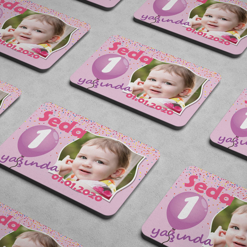 Balonlu Kız Bebek Doğum Günü Magneti - Thumbnail