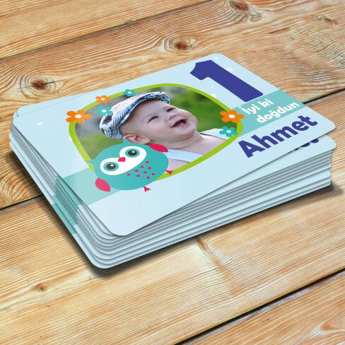 Tisho - Baykuş Tasarımlı Erkek Çocuk Doğum Günü Magneti