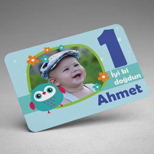 Baykuş Tasarımlı Erkek Çocuk Doğum Günü Magneti - Thumbnail