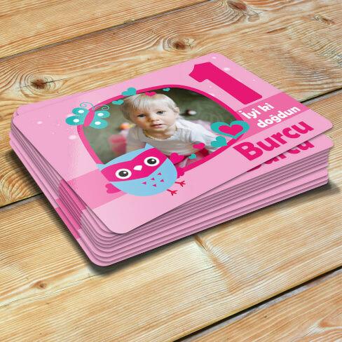 - Baykuş Tasarımlı Kız Çocuk Doğum Günü Magneti