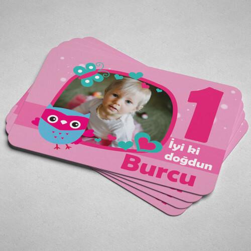 Baykuş Tasarımlı Kız Çocuk Doğum Günü Magneti - Thumbnail