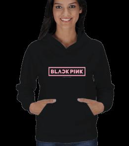 Teşrin - BLACKPINK Logo Baskılı Kadın Sweatshirt Kadın Kapşonlu