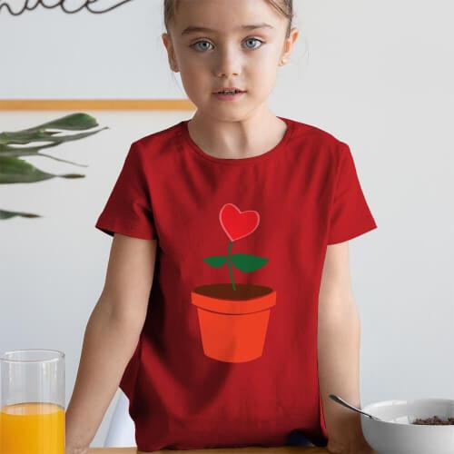 Tisho - Büyüyen Sevgi Kız Çocuk Kısa Kol Tişört - Tekli Kombin
