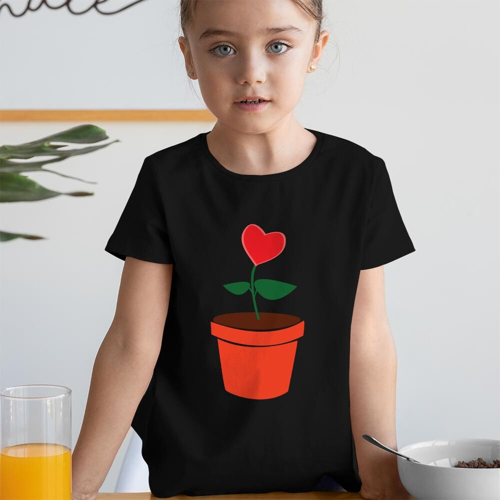 Büyüyen Sevgi Kız Çocuk Kısa Kol Tişört - Tekli Kombin