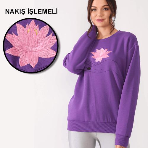 Tisho - Çiçek Desenli Nakış İşlemeli Mor Kadın Sweatshirt