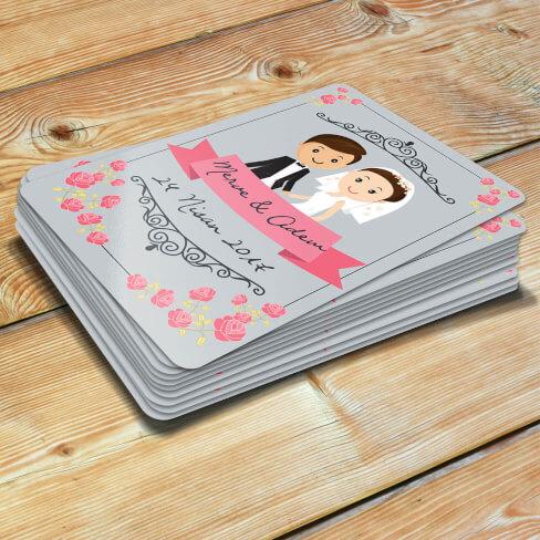 Çiçek Tasarımlı Düğün - Nişan Magnetleri - Thumbnail