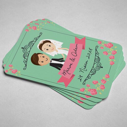 Çiçekli Düğün Magneti - Thumbnail