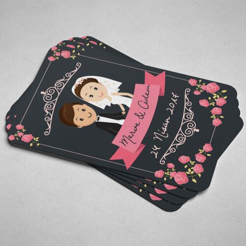Çiçekli Düğün - Nişan Magneti - Thumbnail