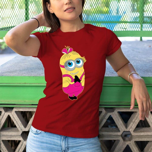 Tisho - Çılgın Hırsız Minyon Baskılı Kadın Kısa Kol Tişört