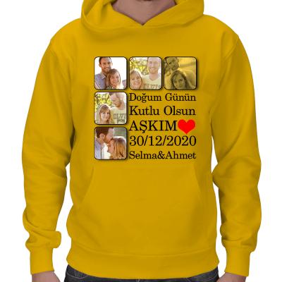 Doğum Günü Temalı Erkek Kapşonlu Sweatshirt