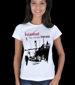 just-style - EN35073 İstanbul YS3 Görselli Bayan Tişört Kadın Tişört