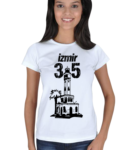 just-style - EN35078 İzmir YS8 Görselli Bayan Tişört Kadın Tişört