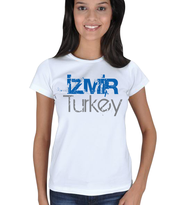 just-style - EN35079 İzmir YS9 Görselli Bayan Tişört Kadın Tişört