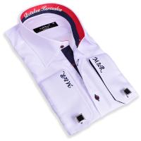 - Erkeklere Özel Nakış İşlemeli Slim Fit Gömlek