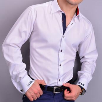 Erkeklere Özel Nakış İşlemeli Slim Fit Gömlek - Thumbnail