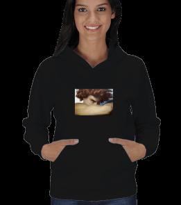 Teşrin - Fallen Angel Eseri Baskılı Sweatshirt Kadın Kapşonlu