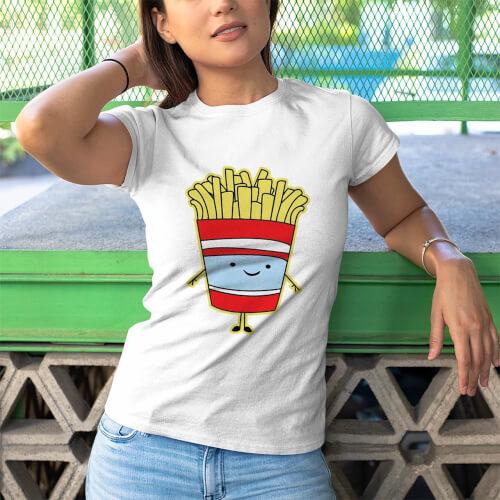 Tisho - Fastfood Temalı Kadın Tişört - Tekli Kombin