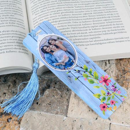 - Fotoğraflı Çiçek Detaylı Kitap Ayracı