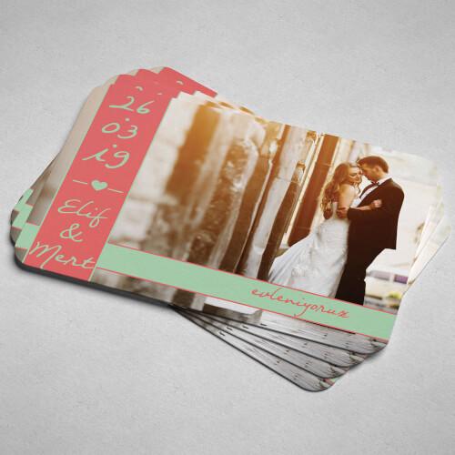 Fotoğraflı Düğün Davet Magneti - Thumbnail