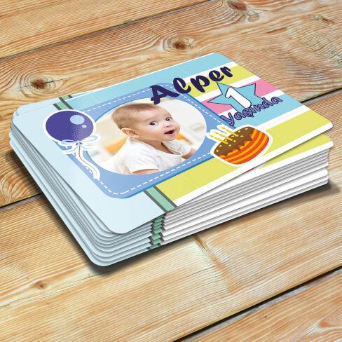 - Fotoğraflı Erkek Bebek Doğum Günü Magneti