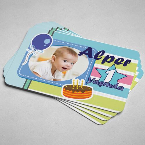 Fotoğraflı Erkek Bebek Doğum Günü Magneti