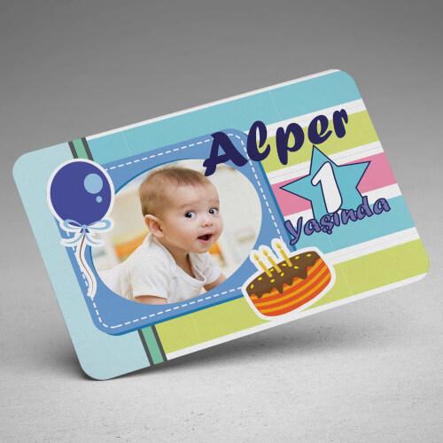 Fotoğraflı Erkek Bebek Doğum Günü Magneti - Thumbnail