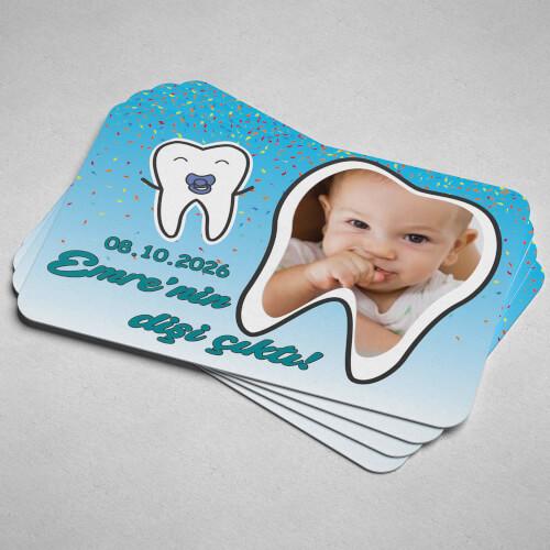 Fotoğraflı Erkek Bebek İçin İlk Diş Buğdayı Magneti - Thumbnail
