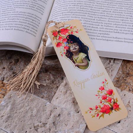- Fotoğraflı Gelincik Tasarımlı Kitap Ayracı