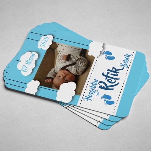 Fotoğraflı Hoşgeldin Erkek Bebek Magneti - Thumbnail