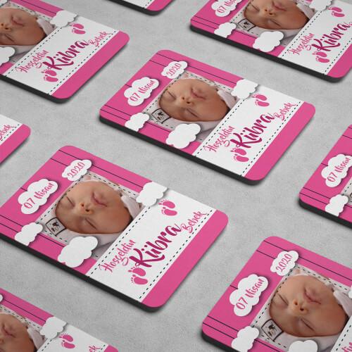 Fotoğraflı Hoşgeldin Kız Bebek Magneti - Thumbnail