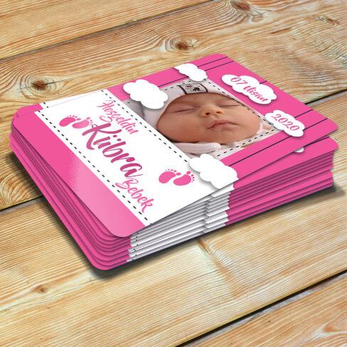 Tisho - Fotoğraflı Hoşgeldin Kız Bebek Magneti