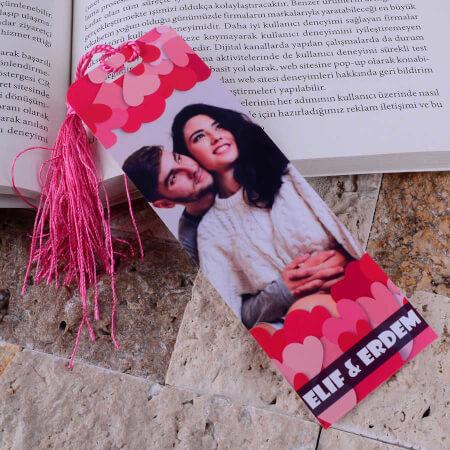 - Fotoğraflı Kalp Tasarımlı Kitap Ayracı