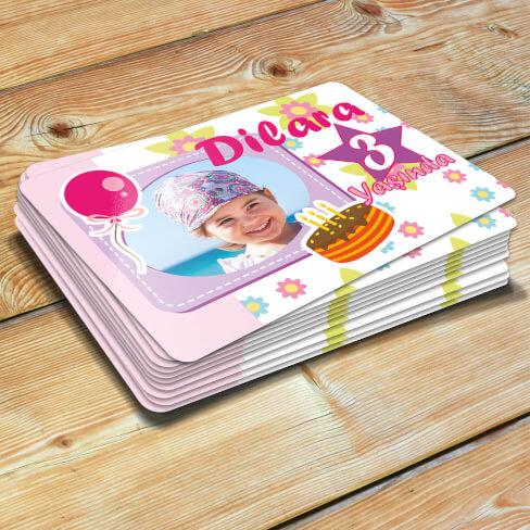 Tisho - Fotoğraflı Kız Bebek Doğum Günü Magneti