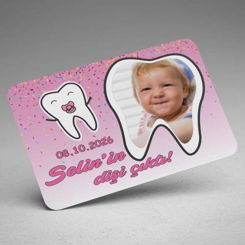 Fotoğraflı Kız Bebek İçin İlk Diş Buğdayı Magneti - Thumbnail