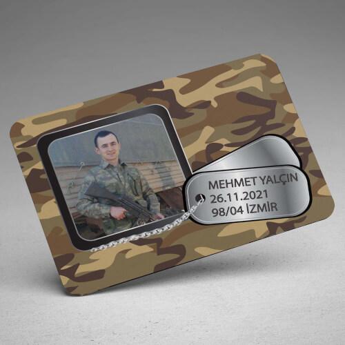 Fotoğraflı ve Künye Tasarımlı Asker Magneti - Thumbnail