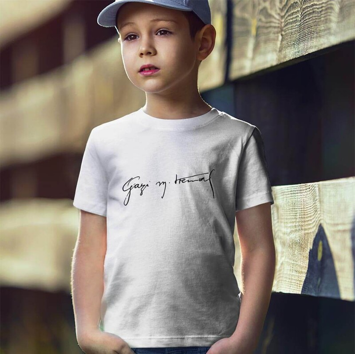 Tisho - Gazi Mustafa Kemal İmzalı Erkek Çocuk Kısa Kol Tişört - Tekli Kombin