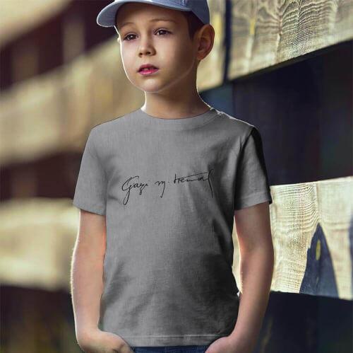 Gazi Mustafa Kemal İmzalı Erkek Çocuk Kısa Kol Tişört - Tekli Kombin - Thumbnail