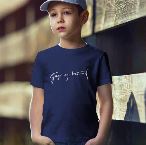 Gazi Mustafa Kemal İmzalı Erkek Çocuk Kısa Kol Tişört - Tekli Kombin