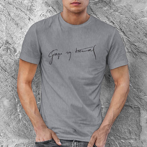 Gazi Mustafa Kemal İmzalı Erkek Kısa Kol Tişört - Tekli Kombin - Thumbnail