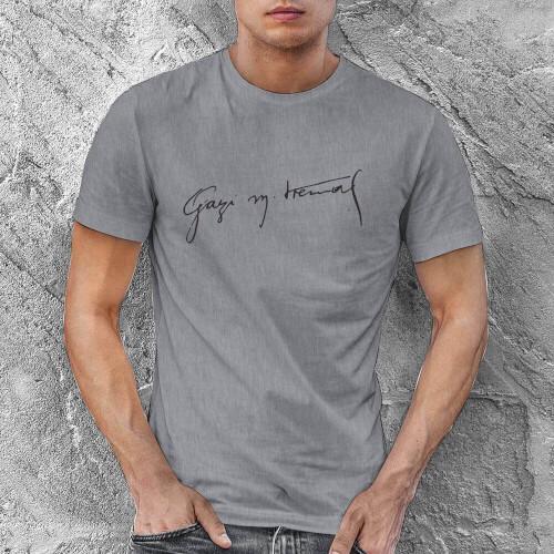 Gazi Mustafa Kemal İmzalı Erkek Kısa Kol Tişört - Tekli Kombin